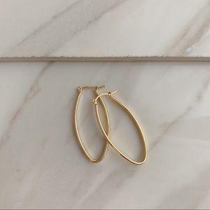 Flat Oval Hoops | 18k Gold Filled